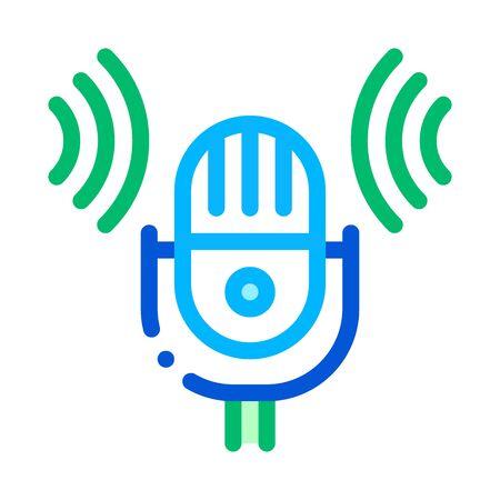 Sound Microphone Voice Control Icon Vector Thin Line. Contour Illustration