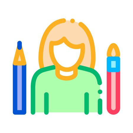 Painter Human Talent Icon Vector Thin Line. Contour Illustration