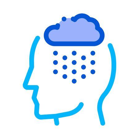 Rainy Cloud Cloudburst Silhouette Headache Vector Icon Thin Line. Tension And Cluster Headache, Migraine And Stress Symptom Illustration Ilustração Vetorial