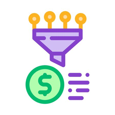 Funnel Financial Information Gathering Vector Icon Thin Line. Money Sign On Smartphone Display And Magnifier, Web Site Financial Illustration