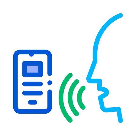 Smartphone Voice Control Icon Vector Thin Line. Contour Illustration Illustration