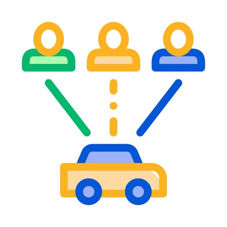 Taxi for Group of People Online Car Icon Vector Thin Line. Contour Illustration Illustration