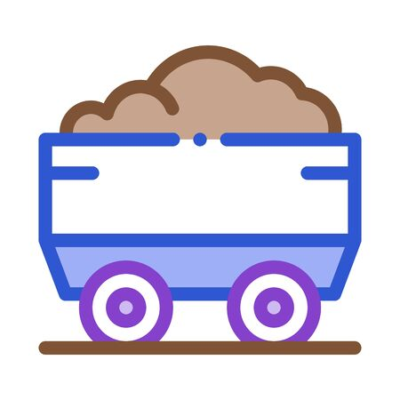 Heavy Truck with Material Metallurgical Icon Vector Thin Line. Contour Illustration