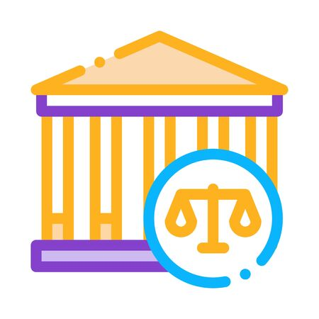 Courthouse Law And Judgement Icon Vector Thin Line. Contour Illustration