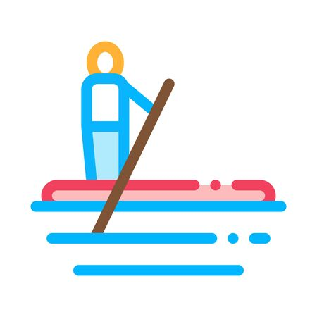 Serfing Canoeing Icon Vector Thin Line. Contour Illustration