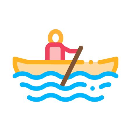 Rowing Boat Canoeing Icon Vector Thin Line. Contour Illustration