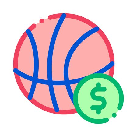 Basketball Ball Betting And Gambling Icon Vector Thin Line. Contour Illustration