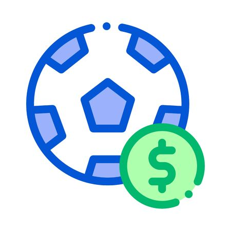 Soccer Ball Betting And Gambling Icon Vector Thin Line. Contour Illustration