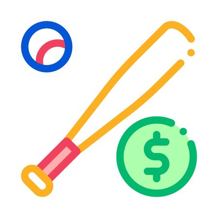 Baseball Bat with Ball Betting And Gambling Icon Vector Thin Line. Contour Illustration