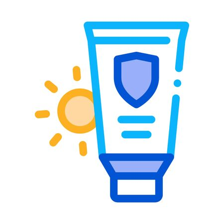 Sunscreen Icon Vector. Outline Sunscreen Sign. Isolated Contour Symbol Illustration Illustration
