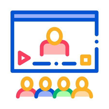 Video Presentation Icon Vector. Outline Video Presentation Sign. Isolated Contour Symbol Illustration Illustration