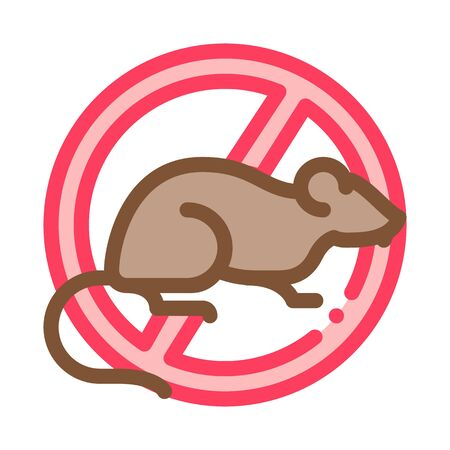 Sign Against Rat Icon Vector. Outline Sign Against Rat Sign. Isolated Contour Symbol Illustration Vector Illustration