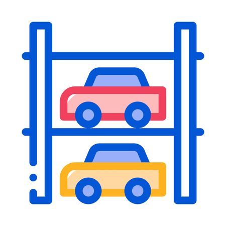 Multi-Storey Parking Icon Vector. Outline Multi-Storey Parking Sign. Isolated Contour Symbol Illustration Stock Vector - 137137738