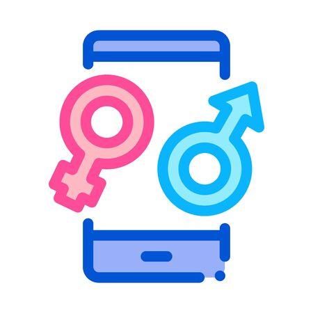 Male and Female Compatibility Icon Vector. Outline Male and Female Compatibility Sign. Isolated Contour Symbol Illustration