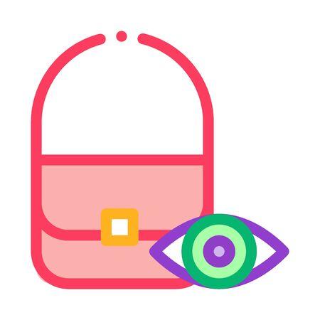 Bag Control Inspection Icon Vector. Outline Bag Control Inspection Sign. Isolated Contour Symbol Illustration