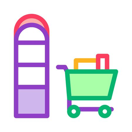 Food Cart near Counters Icon Vector. Outline Food Cart near Counters Sign. Isolated Contour Symbol Illustration