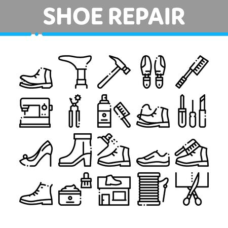 Shoe Repair Equipment Collection Icons Set Vector Thin Line. Shoes Repair Tools And Scissors, Sewing Machine And Hammer, Cream And Brush Concept Linear Pictograms. Monochrome Contour Illustrations Ilustracja