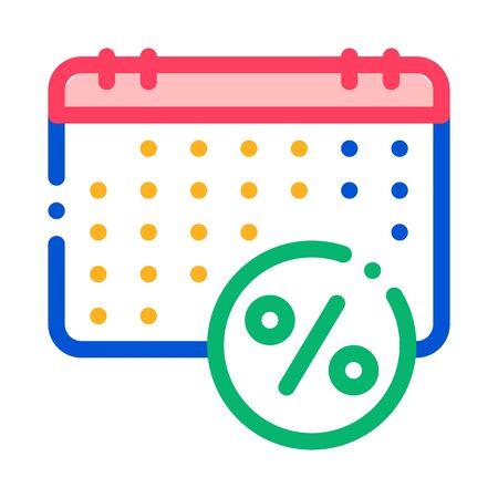 Salary Calendar Schedule Icon Vector. Outline Salary Calendar Schedule Sign. Isolated Contour Symbol Illustration
