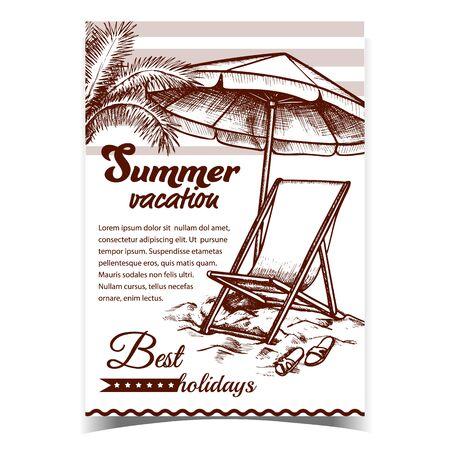 Sommerferien-Strand werben Banner-Vektor. Entspannen Sie Liegestuhl mit Regenschirm und Hausschuhen Sonnenschirm und Turnschuhe auf Strandsand. Coast Tool Vorlage im Retro-Stil Monochrome Illustration entworfen