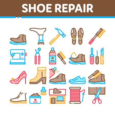 Shoe Repair Equipment Collection Icons Set Vector Thin Line. Shoes Repair Tools And Scissors, Sewing Machine And Hammer, Cream And Brush Concept Linear Pictograms. Color Contour Illustrations Ilustracja