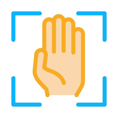 Person Handprint Scan Icon Vector. Outline Person Handprint Scan Sign. Isolated Contour Symbol Illustration