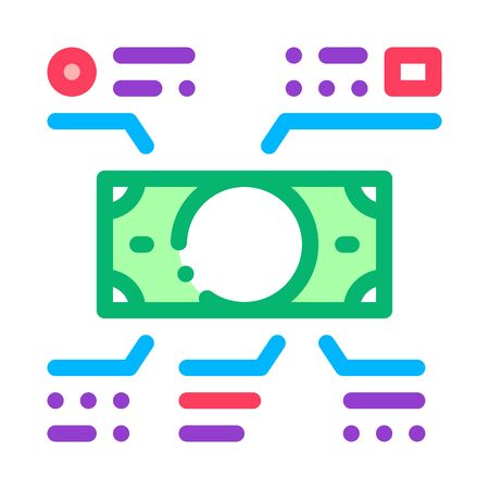Elements Of Cash Banknotes Icon Vector. Outline Elements Of Cash Banknotes Sign. Isolated Contour Symbol Illustration