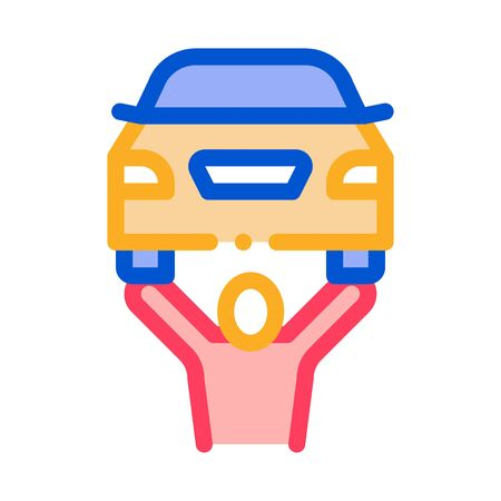 Man Raises Car Icon Vector. Outline Man Raises Car Sign. Isolated Contour Symbol Illustration