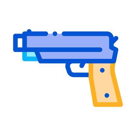 Iron Shooting Gun Icon Vector. Outline Iron Shooting Gun Sign. Isolated Contour Symbol Illustration Иллюстрация