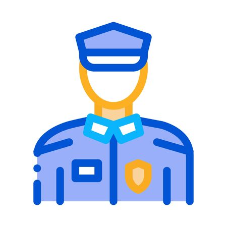Policeman In Police Suit Icon Vector. Outline Policeman In Police Suit Sign. Isolated Contour Symbol Illustration 일러스트