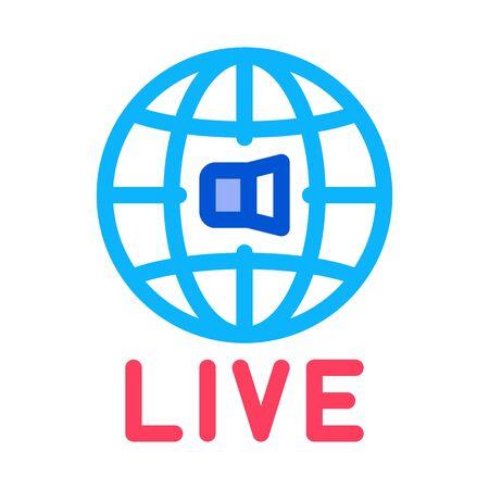 World Wide Live Podcast Icon Vector. Outline World Wide Live Podcast Sign. Isolated Contour Symbol Illustration Banque d'images - 137247172