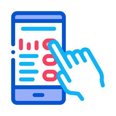 Vector de icono de pantalla de teléfono táctil de mano. Esquema de la muestra de la pantalla del teléfono táctil de la mano. Ilustración de símbolo de contorno aislado