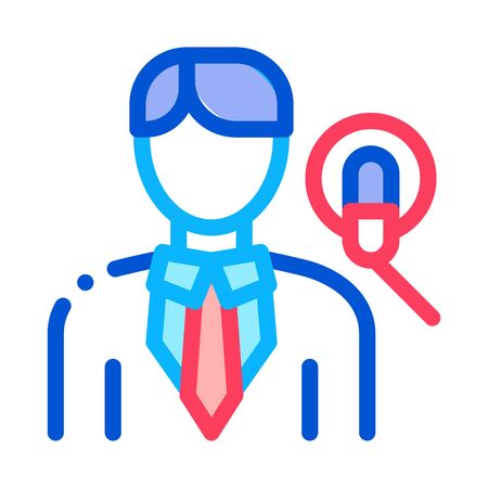 Man Host With Microphone Icon Vector. Outline Man Host With Microphone Sign. Isolated Contour Symbol Illustration 일러스트