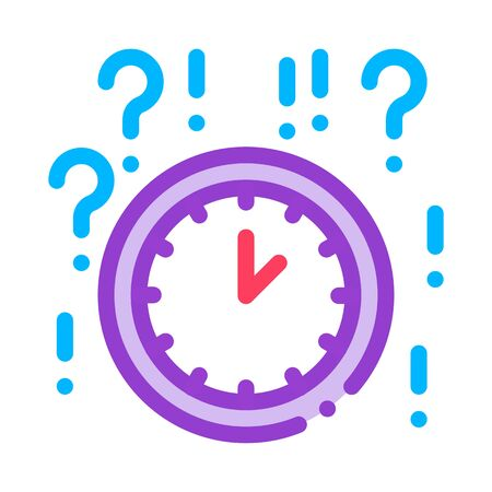 Clock And Question Mark Icon Vector. Outline Clock And Question Mark Sign. Isolated Contour Symbol Illustration Çizim