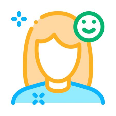 Girl Shine Clean Face Icon Vector. Outline Girl Shine Clean Face Sign. Isolated Contour Symbol Illustration