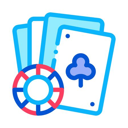 Playing Cards Icon Vector. Outline Playing Cards Sign. Isolated Contour Symbol Illustration