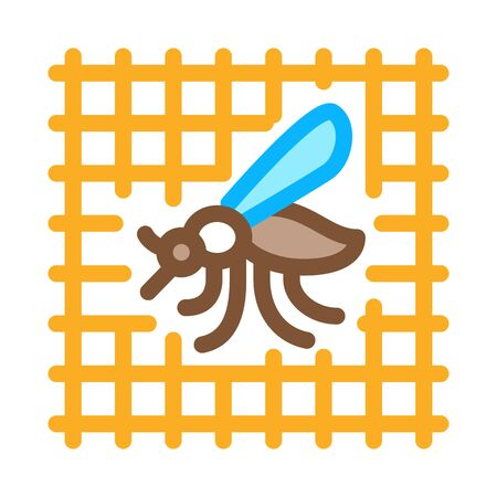 Mosquito On Grid Icon Vector. Outline Mosquito On Grid Sign. Isolated Contour Symbol Illustration