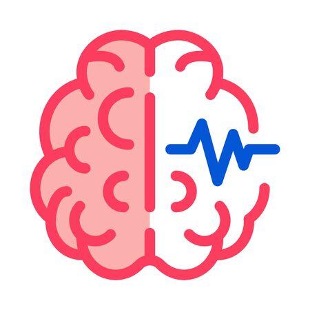 Brain Impulse Icon Vector. Outline Brain Impulse Sign. Isolated Contour Symbol Illustration