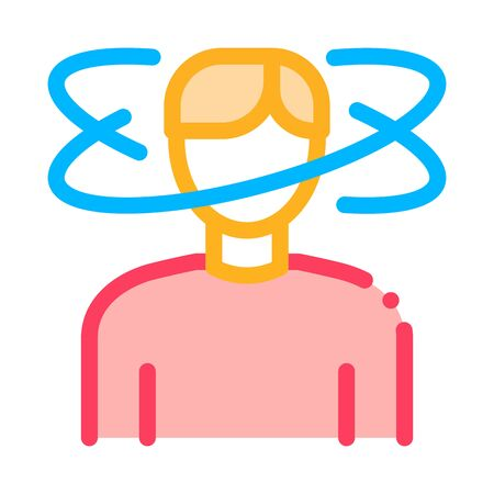 Man Dizziness Icon Vector. Outline Man Dizziness Sign. Isolated Contour Symbol Illustration