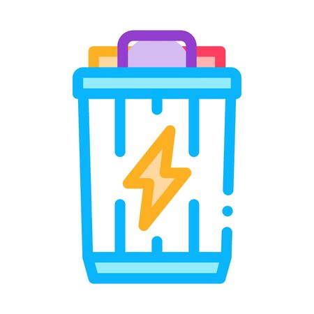 Lightning Battery Icon Vector. Outline Lightning Battery Sign. Isolated Contour Symbol Illustration Ilustração