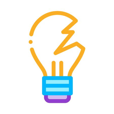 Wrecked Lightbulb Icon Vector. Outline Wrecked Lightbulb Sign. Isolated Contour Symbol Illustration 向量圖像
