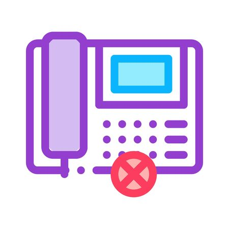 Broken Telephone Icon Vector. Outline Broken Telephone Sign. Isolated Contour Symbol Illustration