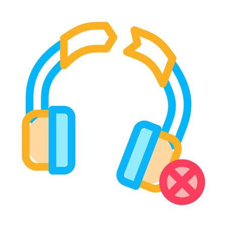 Broken Earphones Icon Vector. Outline Broken Earphones Sign. Isolated Contour Symbol Illustration Illustration