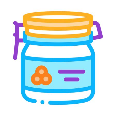 Caviar Bottle Icon Vector. Outline Caviar Bottle Sign. Isolated Contour Symbol Illustration