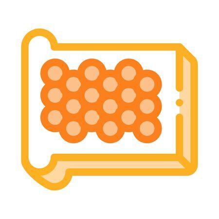 Caviar On Bread Icon Vector. Outline Caviar On Bread Sign. Isolated Contour Symbol Illustration Ilustração