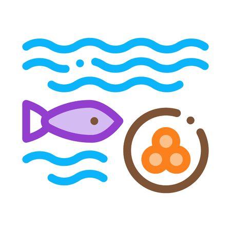 Fish Lays Caviar Icon Vector. Outline Fish Lays Caviar Sign. Isolated Contour Symbol Illustration Illustration