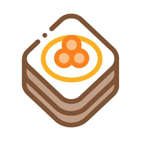 Caviar On Pancake Icon Vector. Outline Caviar On Pancake Sign. Isolated Contour Symbol Illustration