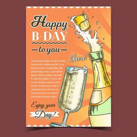 Happy B-day Champagne Congratulation Poster Vector. Champagne Blank Label Bottle With Bang Opening Cork And Wineglass. Bubble Wine Layout Hand Drawn In Retro Style Color Illustration