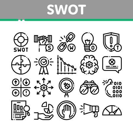 Swot Analysis Strategy Collection Icons Set Vector Fine Line. Infographie Swot et chaîne brisée, ampoule, bouclier et cerveau avec des pictogrammes linéaires de concept d'engrenage. Illustrations de contours monochromes