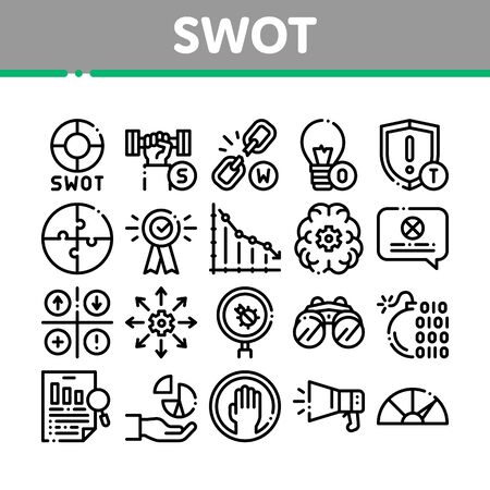 Swot Analysis Strategy Collection Icons Set Vector Thin Line. Swot Infographics And Broken Chain, Lightbulb, Shield And Brain With Gear Concept Linear Pictograms. Monochrome Contour Illustrations