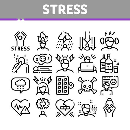 Stress And Depression Collection Icons Set Vector Thin Line. Anti Stress Pills And Alcoholic Drink Bottle, Angry Human And With Burning Head Concept Linear Pictograms. Monochrome Contour Illustrations Illustration